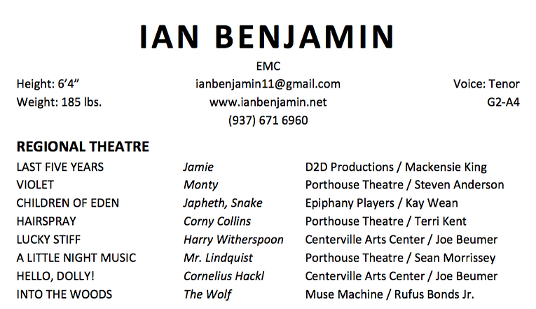 ian benjamin actor singer pianist headshot resume
