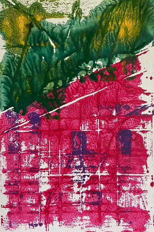 Mur Pinc / Pink Wall | Monoprint acrylic | 29 cm x 20 cm | 2020