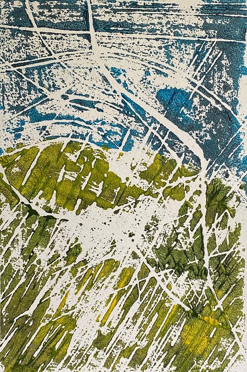Ar ymyl y Clogwyn / Cliff Edge| Monoprint - acrylic | 29 c x 30 cm | 2020