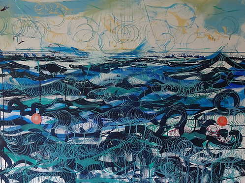 Lobster Pots Off Caldey | Acrylic on canvas | 100 cm x 80 cm