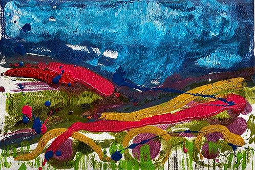 Preseli Landscape / Tirlun Preseli | Monoprint acrylic | 42 cm x 30 cm | 2020