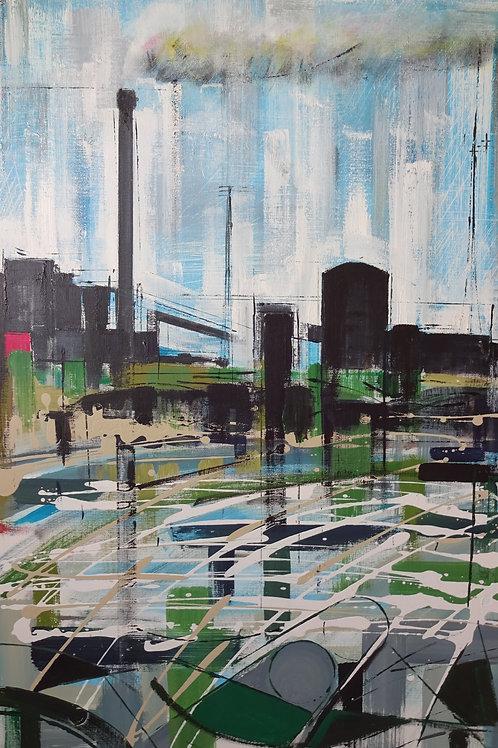 Steelworks Port Talbot II | Acrylic on canvas | 61 cm x 92 cm