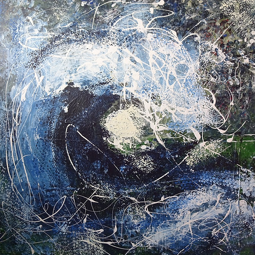Moon and Wave | Acrylic on canvas | 100 cm x 100 cm