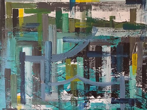 Rocks at Poppit | Acrylic on canvas | 40 cm x 30 cm