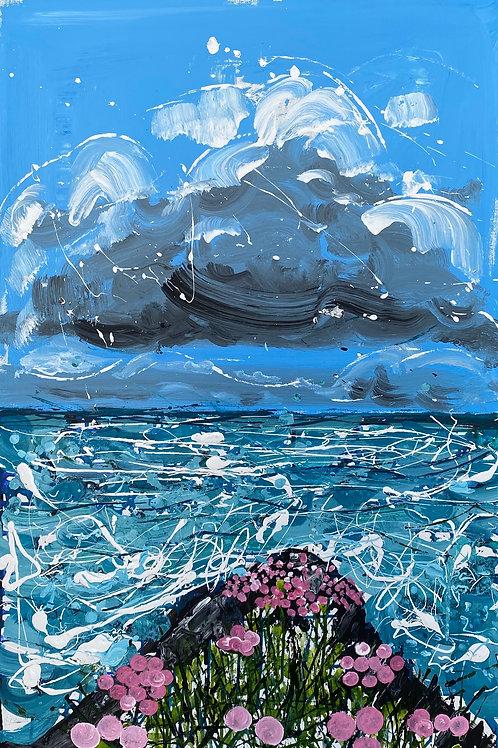 Clustogau Mair | Sea Pinks | Acrylic on canvas | 92 cm x 61 cm | 2020