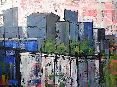 Steelworks Port Talbot I | Acrylic on canvas | 100 cm x 81 cm