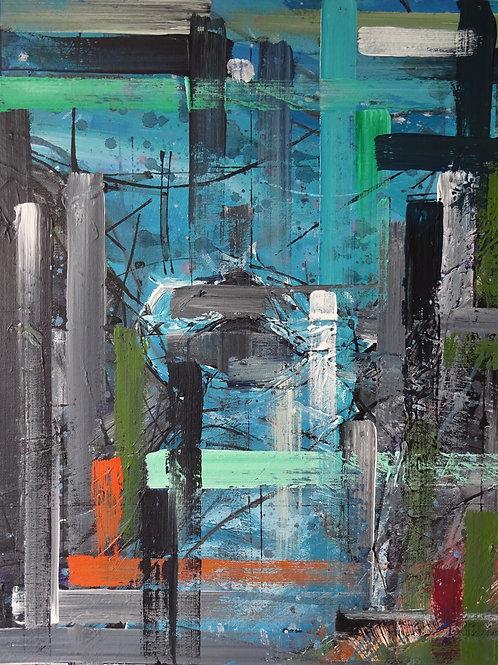 Blue Pool Mwnt |Acrylic on canvas | 30 cm x 50 cm