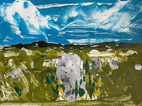 Cylch Cerrig / Stone Circle Gors Fawr | Monoprint acrylic | 42 cm x 30 cm | 2020