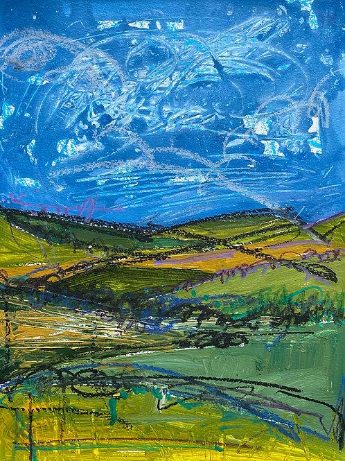 West Wales Landscape | Mixed media on paper | 38 cm x 30 cm | 2020