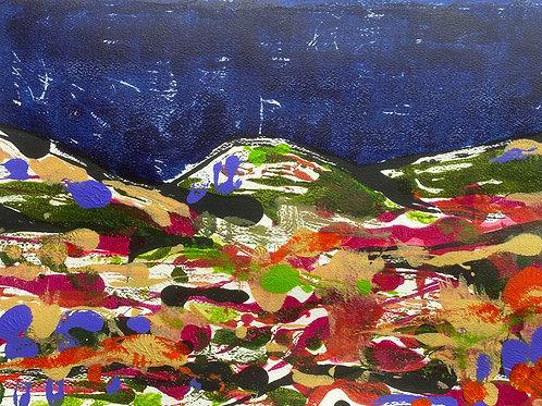 Preseli Landscape Night / Tirlun Preseli Nos | Monoprint acrylic | 42 cm x 30 cm