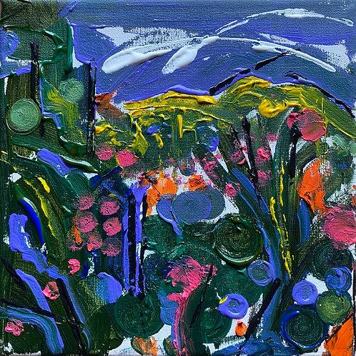 Gardd Yr Haf | Summer Garden | Acrylic on canvas | 20 cm x 20 cm | 2020