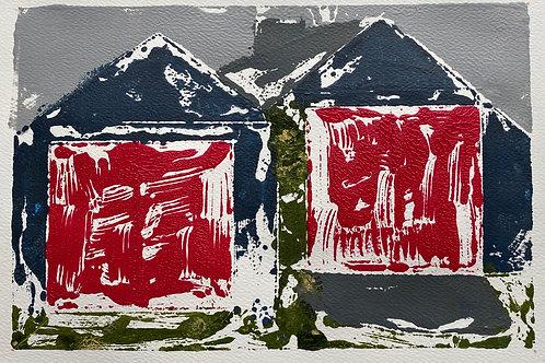 The Red Doors / Y Drysau Cochion | Monoprint acrylic | 30 cm x 20 cm | 2020