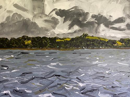 Towards Cosheston from a Mooring at Burton | Acrylic on canvas | 100 cm x 80 cm