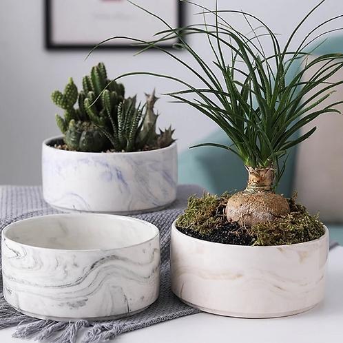 Graphic Marble Ceramic Planter Pot for Succulents Office Desk