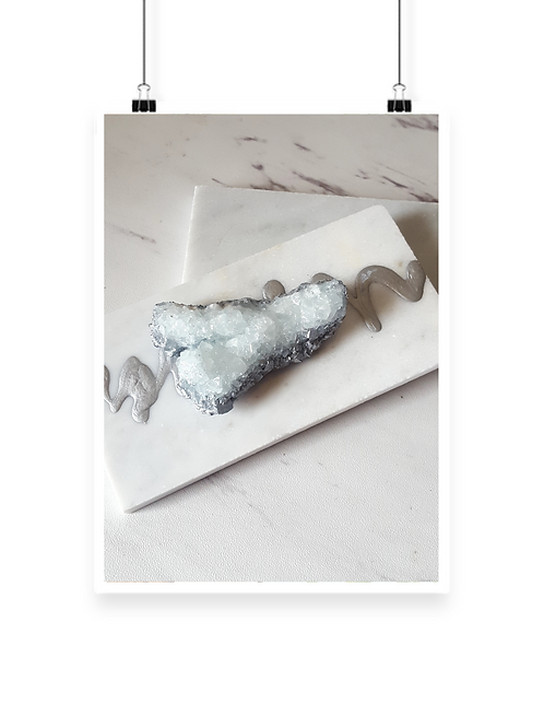 "Blue Quartz ""Wishbone"" Marble Paper Weight"