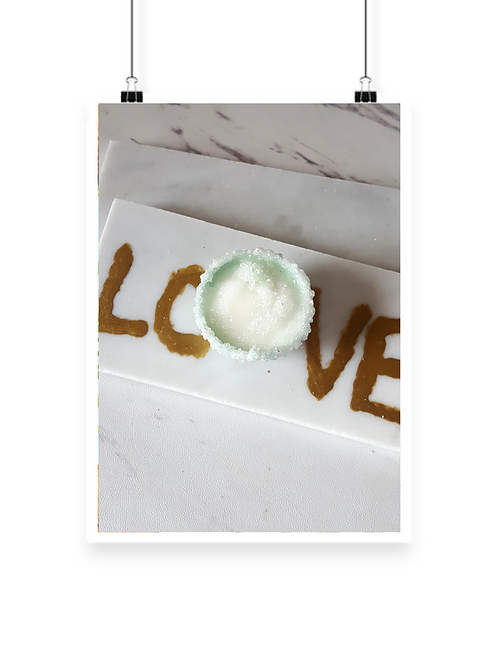 Averturine Marble LOVE In Gold Paper Weight