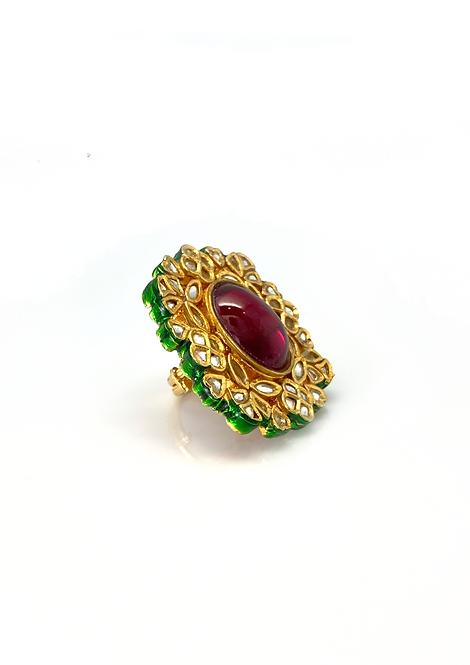 Kundan Red Stone Ring