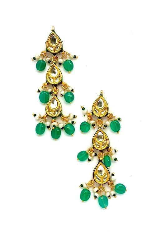 Green Tear Drop Kundan Earrings