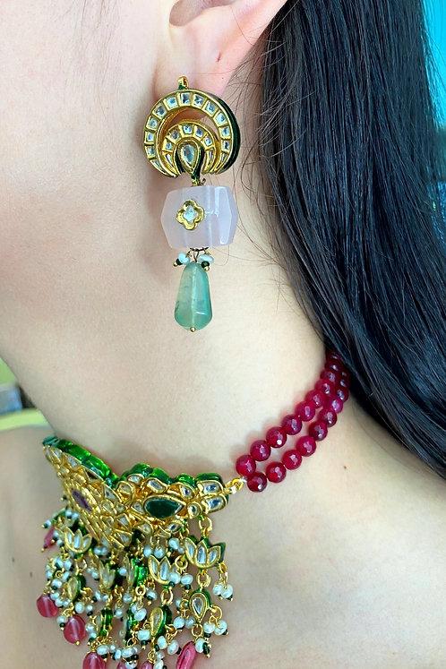 Kundan Quartz and Flourite Earrings