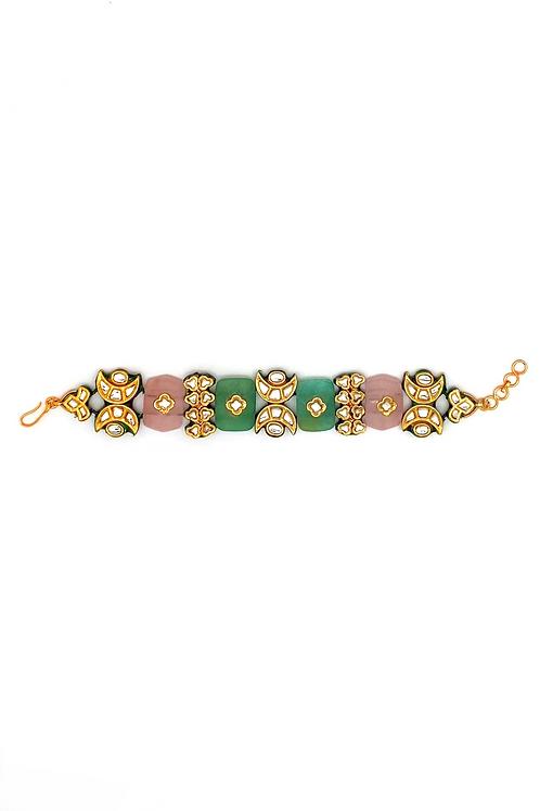 Kundan Rose Quartz Chand Bracelet