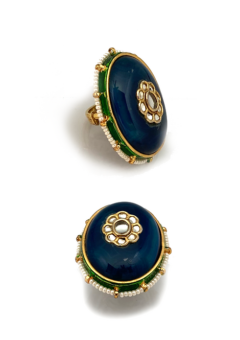 Blue Kundan Ring