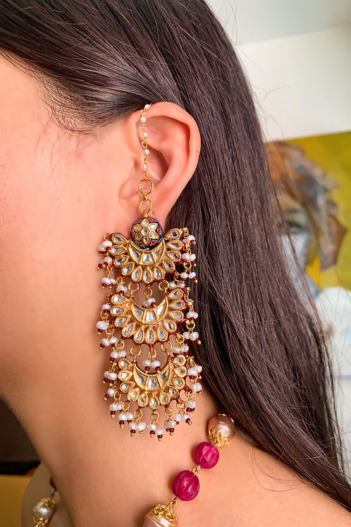 Red Meena Triple Chaand Earrings