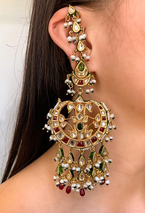 Shoulder Duster Kundan Earrings