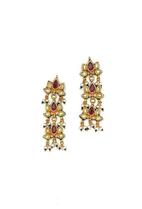 Kundan Tiered Earrings