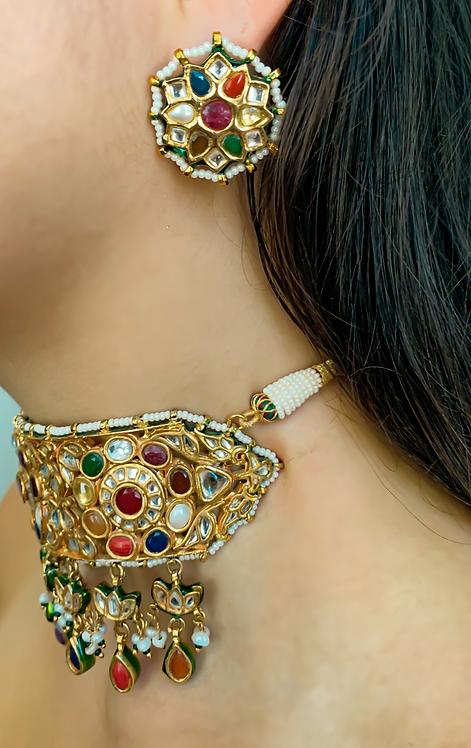 Webbed Kundan Earrings