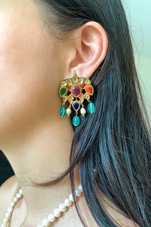 Kundan and Stone Earrings