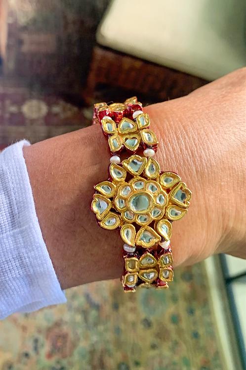 Kundan Red Meena Bracelet