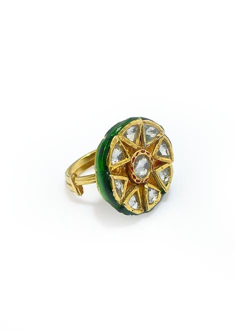 Green Meena Ring