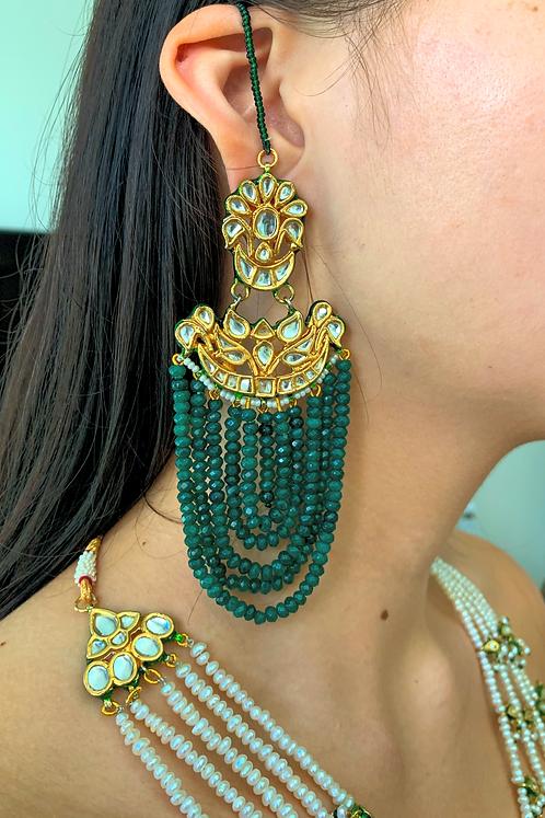 Jhoomar Green Goddess Earrings