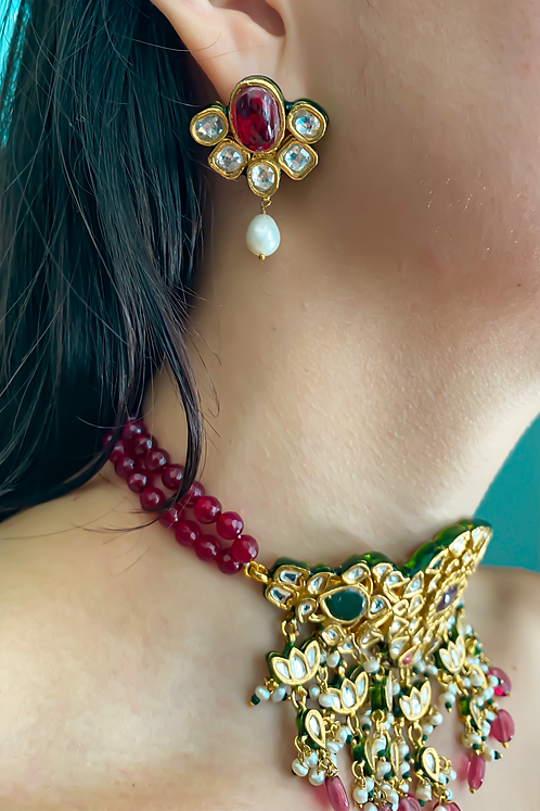 Kundan Red Earrings