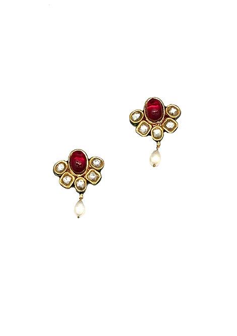 Kundan Red Earrings