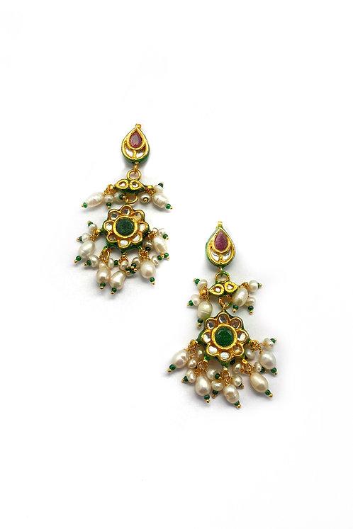 Kundan Flower Earrings