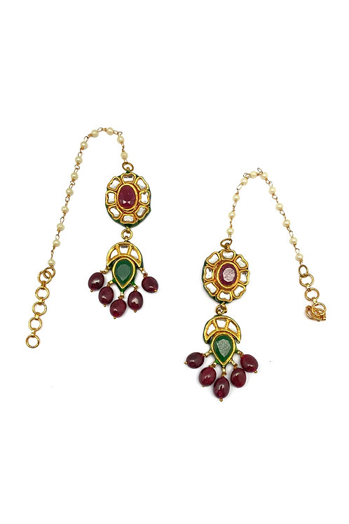 Ruby Drop Kundan Earrings