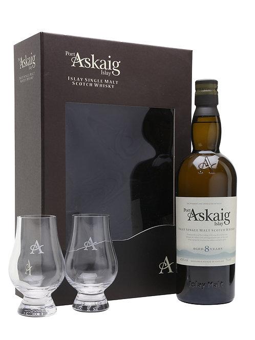 Port Askaig 8 Years + 2 verres, 70cl,  45.8%