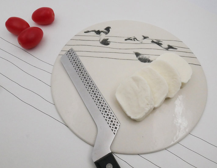 Cheese plate with pigeons print