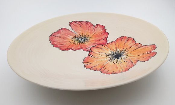 Red Poppies Serving Bowl