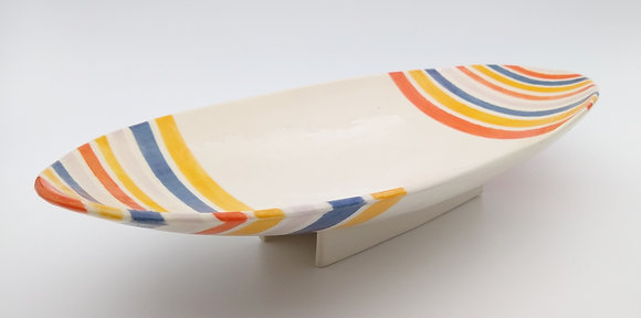 Oval Serving Dish with Stripes