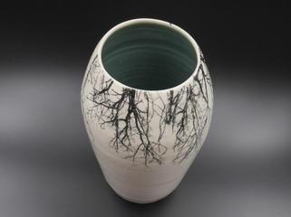 Tall vase with tree print transfer.JPG
