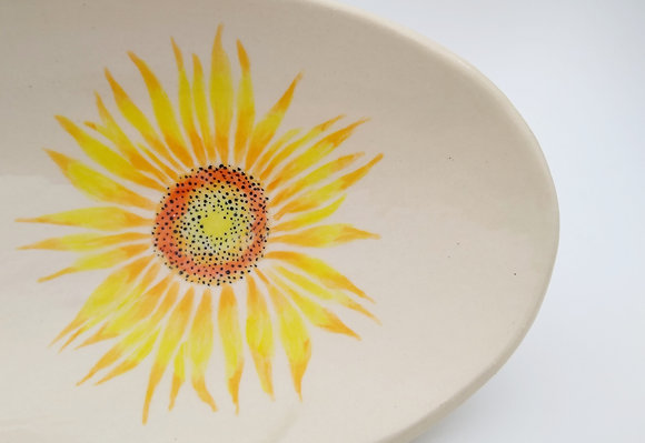 Oval Serving Dish With Sunflowers