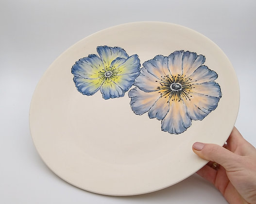 Blue Poppies Serving Bowl