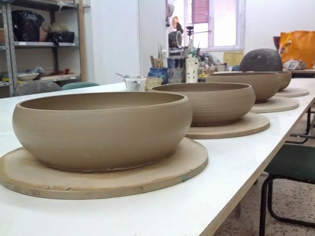 Pasta bowls slowly drying