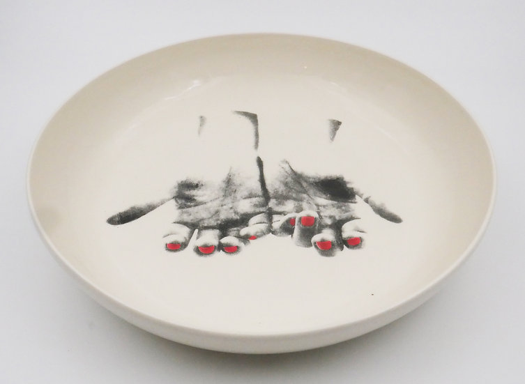 Pasta bowl with two hands red nail polish print