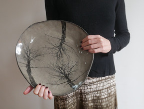 Winter tree huge plater on grey clay