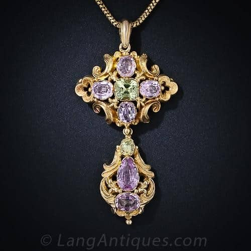 Peridot and Pink Topaz pendant Vintage Georgian
