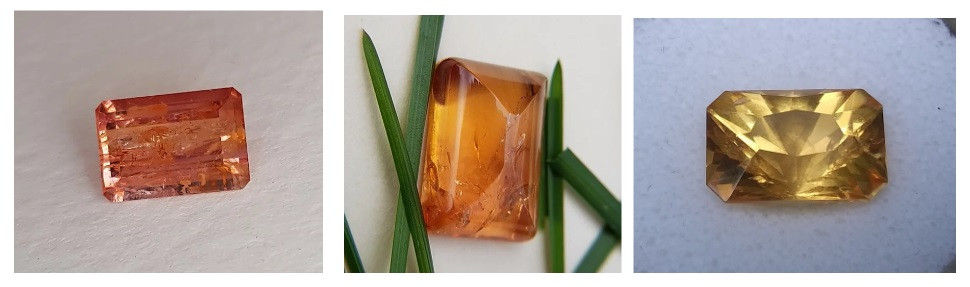 Pink, precious and imperial topaz with beautiful inclusions.