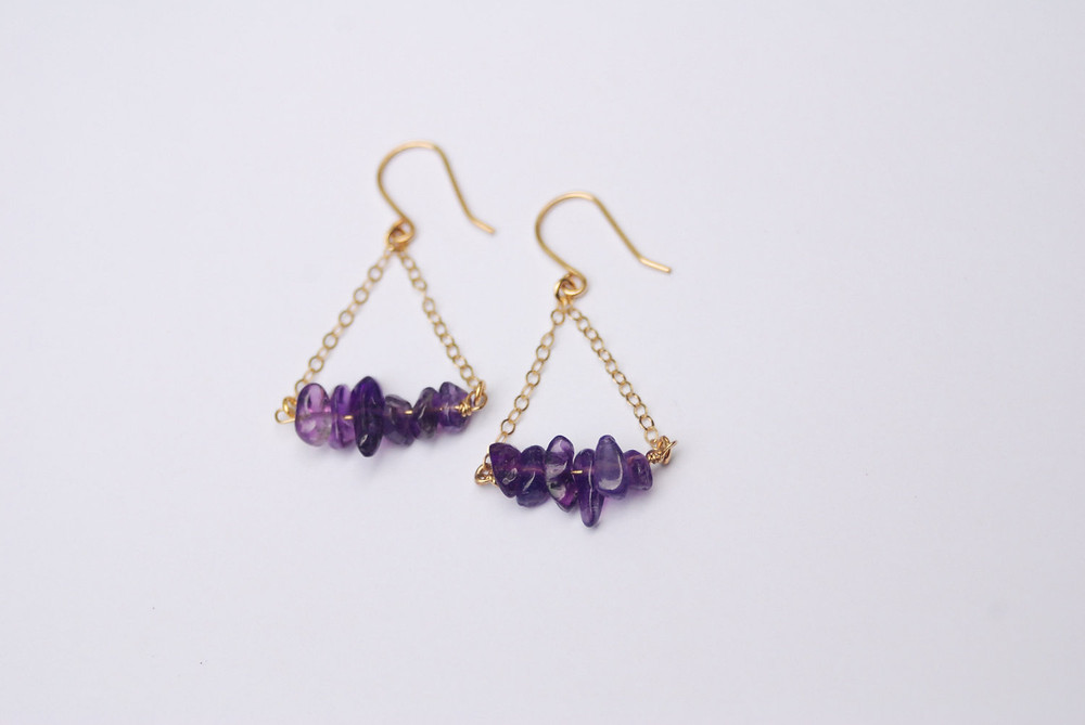 Amethyst birthstone earrings